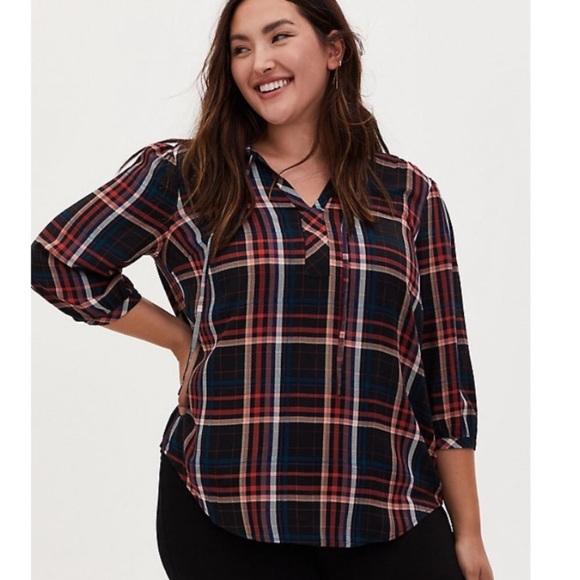 TORRID Black and multi plaid peasant blouse
